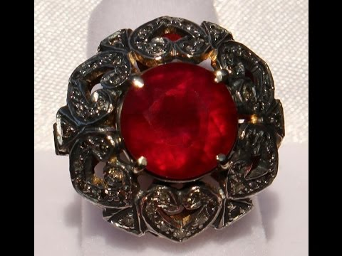 LARGE ANTIQUE RUBY DIAMOND 14K 925 RING NO RESERVE !