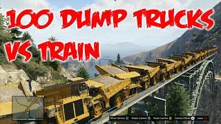 GTA 5 | 50 tractores gigantes vs tren | 50 Dump Truck vs Train | Reto #5 en GTA V