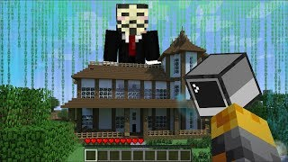GIANT HACKER APPEARS IN OUR HOUSE IN MINECRAFT !! SURVIVE INSIDE OU...