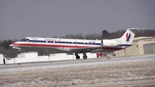 American Eagle ERJ-140 Flight AA3414  N826AE Landing Springfield, Illinois 3-5-2019