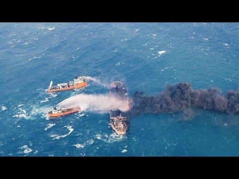 Oil tanker burning off China