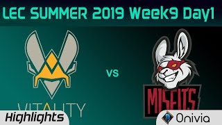 VIT vs MSF Highlights LEC Summer 2019 W9D1 Team Vitality vs Misfits Gaming LEC Highlights By Onivia