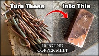 HUGE 10 POUND Copper Ingot From SCRAP Copper Pipes - Melting Copper With BigstackD