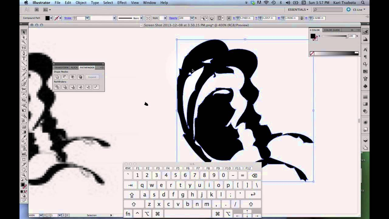 How To Clean Up Illustrator Live Trace Drawings With The Pen Tool - YouTube