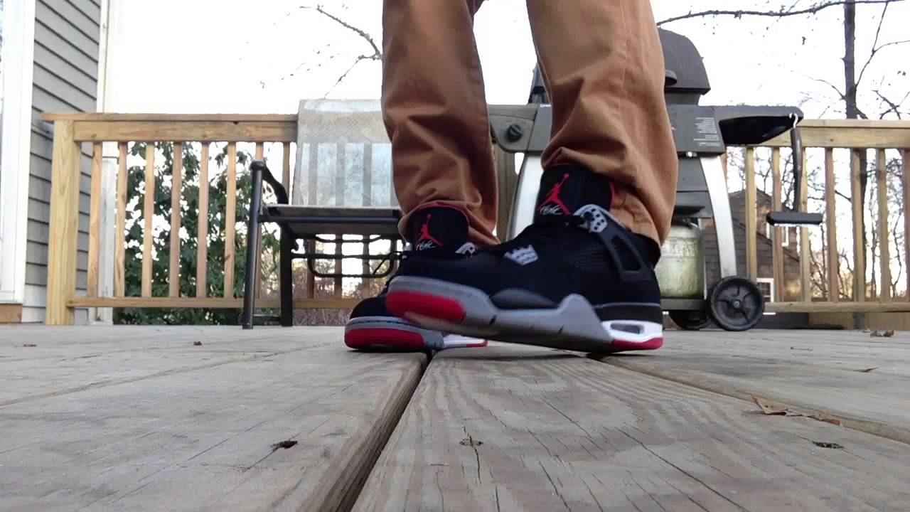 7c647d9972e6f1 Jordan Retro 4 Bred On Feet Jeans   Khakis - YouTube