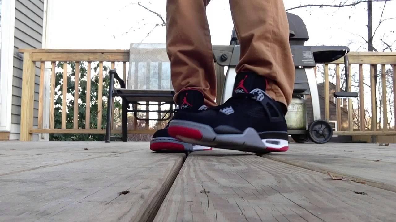 734f894491f Jordan Retro 4 Bred On Feet Jeans & Khakis - YouTube