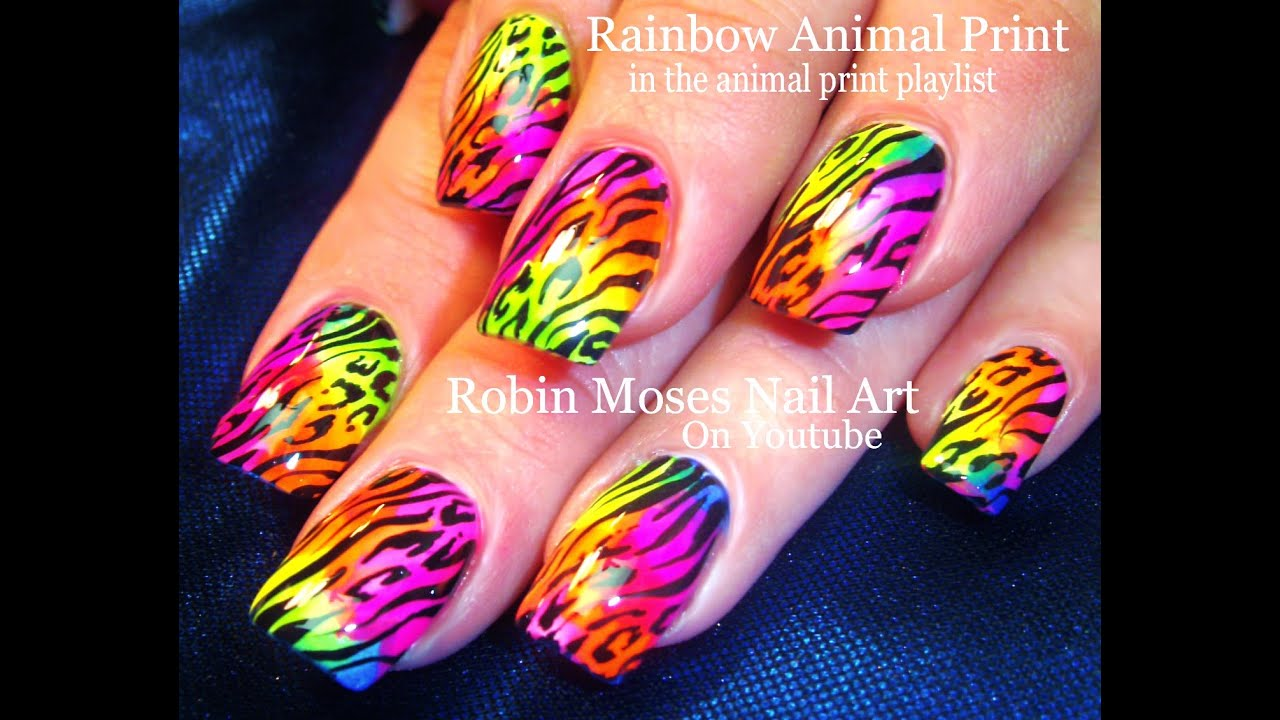 Diy Rainbow Nails Animal Print Easy Hot Summer Neon Nail Art