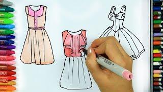 Wie zeichnet man Kleid 👗   Ausmalen Kinder HD   Malen für Kinder   Ausmalen   Zeichnen und Färben