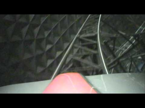 Euro Sat Roller Coaster Front Seat POV Lights On Europa Park Germany
