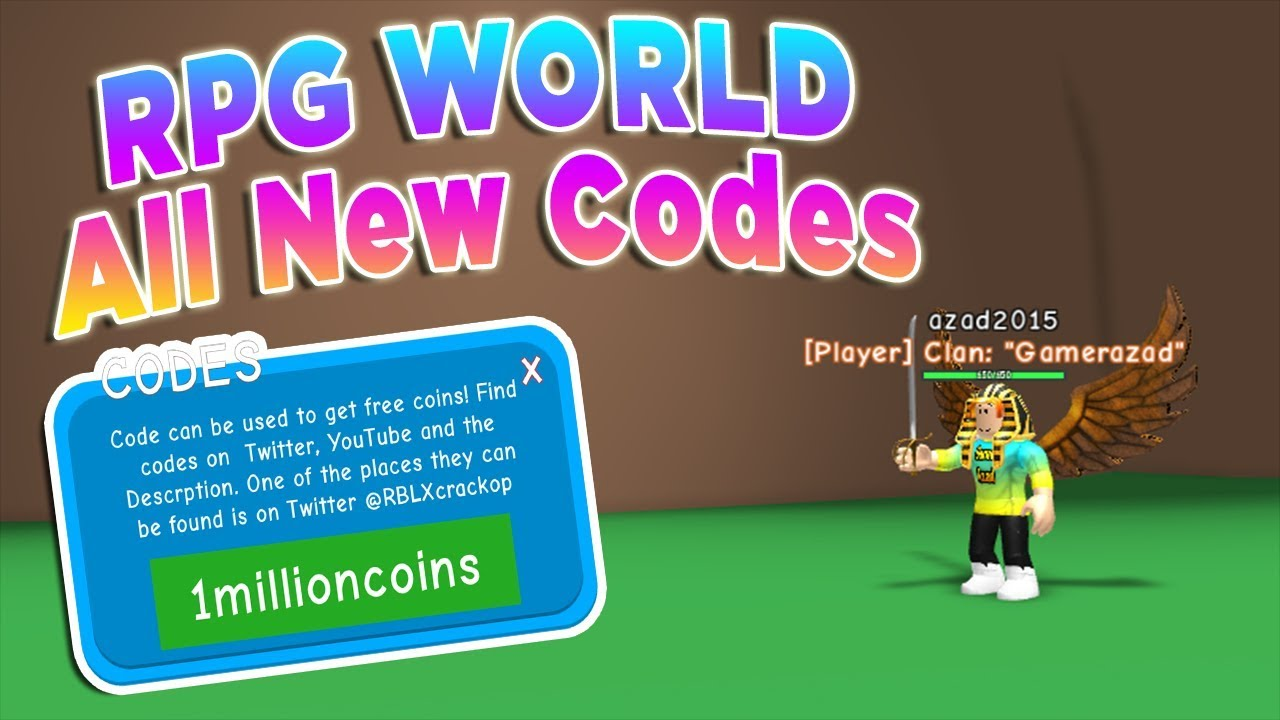 roblox codes for rpg world
