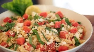 Orzo Salad Watermelon Basil & Feta Recipe || Kin Eats