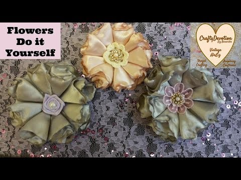 Diy Folded Satin Melted Fabric Flower, Tutorial, Shab Chic,  singed, wedding bridal flower