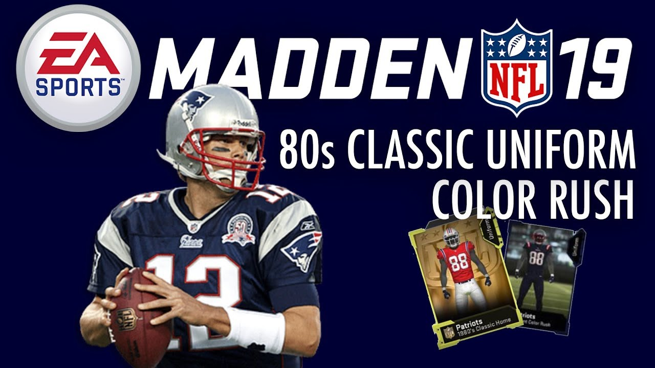 timeless design f49fc 2ec66 MUT: Patriots 80s Classic Uniforms and Color Rush Uniforms #Madden19