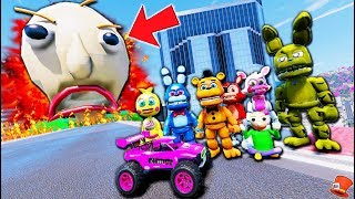 FNAF World Animatronics Stunt on Giant FIRE Baldi's Basics Challenge! (GTA 5 Mods FNAF RedHatter)