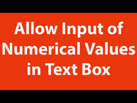 How To Allow Only Input Of Numerical Values In Userform