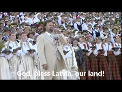 "Latvian Song Festival (2013) - ""Svētī Debesīs Šo Zemi"" + reprise (ENGLISH translation/subtitles)"