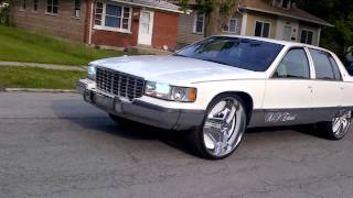 "1996 Cadillac Fleetwood riding on 26""s doin wha it do ..........."