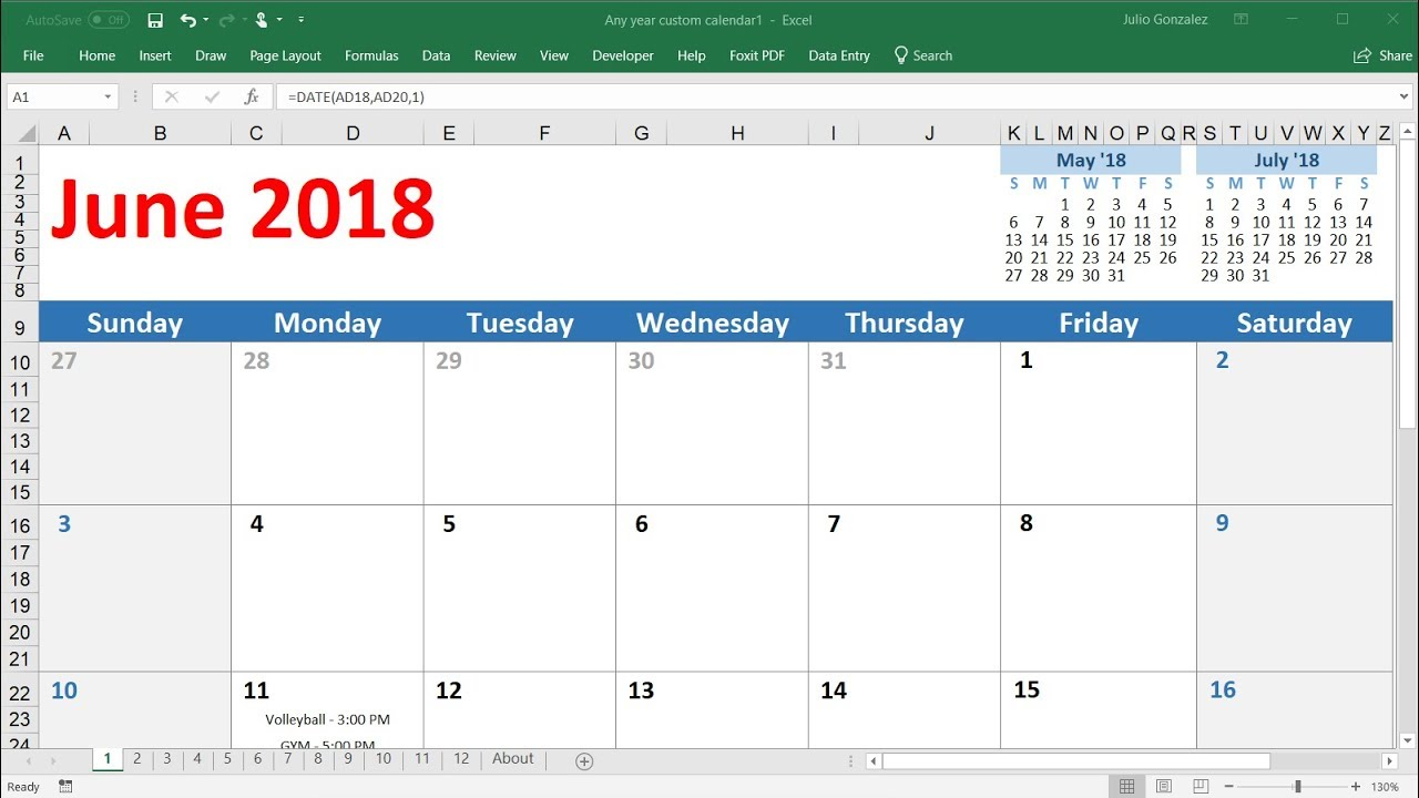 how to create a calendar in excel 2016 - very easy