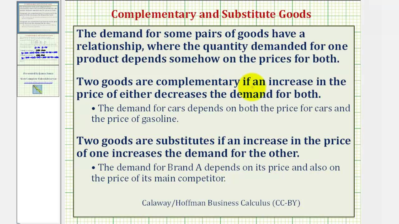 Ex Complementary And Substitute Goods Demand Function Youtube