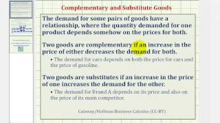 Ex: Complementary and Substitute Goods - Demand Function