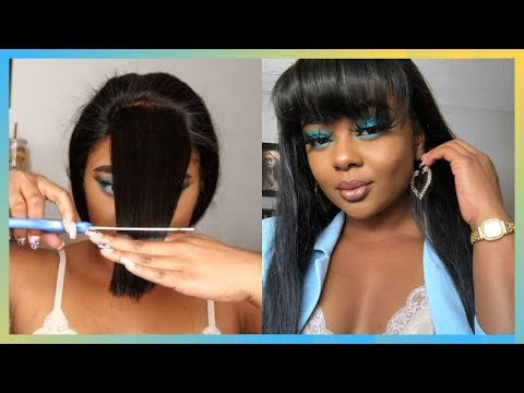 HOW I CUT MY BANGS AT HOME | ft. AngieQueen Hair | Amber Symone