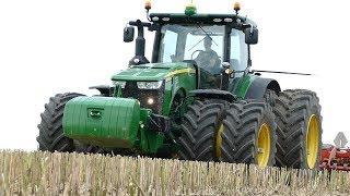 John Deere 8370R Working Hard in The Field w/ Väderstad Carrier XL 825 Cultivator | Danish Agri