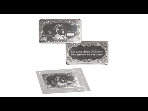 QuarterPound (4TroyOunce) Silver Bar with U.S. $1000 Bil...