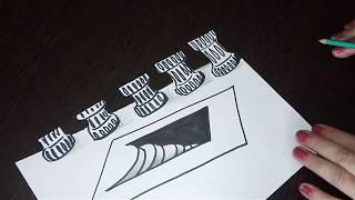 3D рисунок.Как нарисовать простой 3D рисунок по шагам.Лестница вниз.