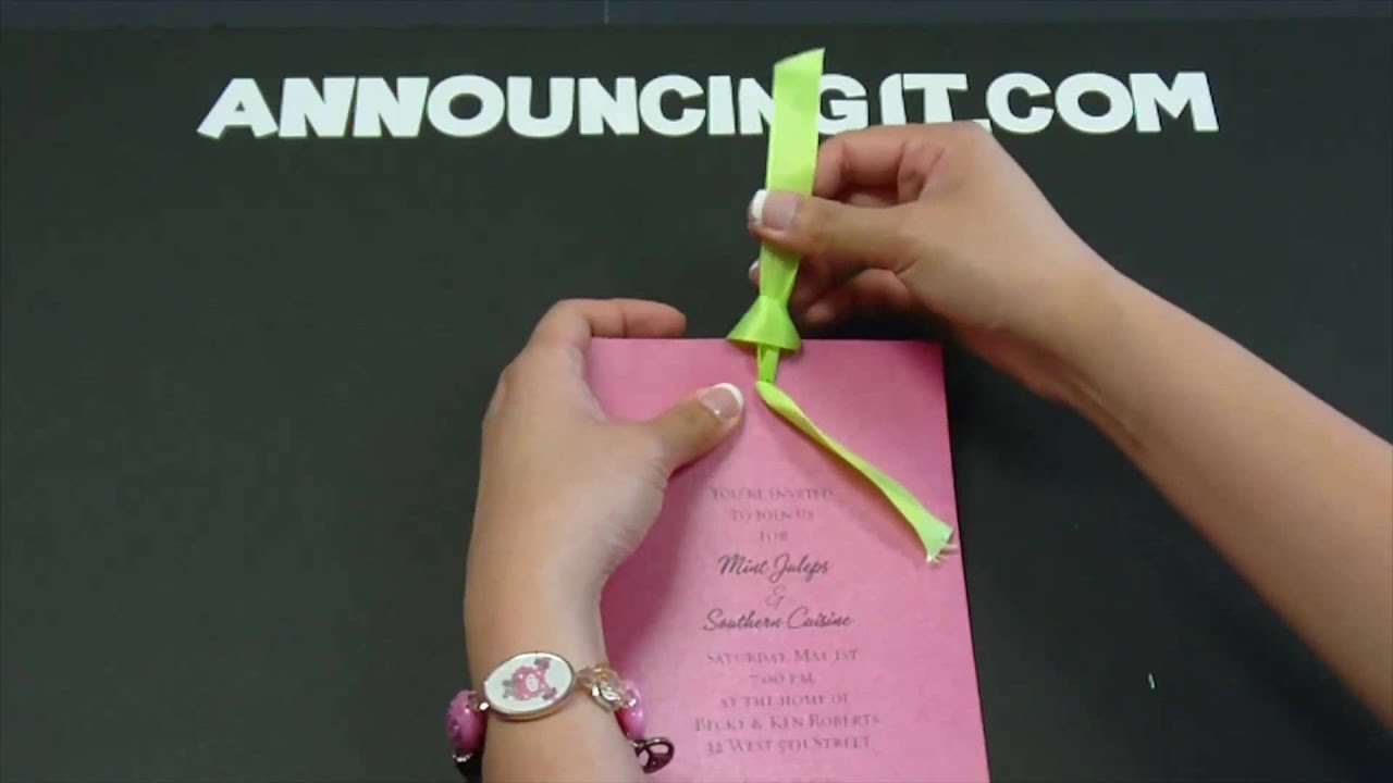 How to tie a Looped Flat Bow on an Invitation - YouTube