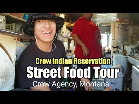 STREET FOOD On The INDIAN RESERVATION   Downtown Crow Agency, Montana