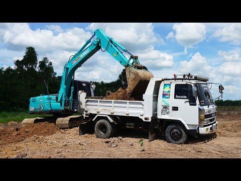 แบคโฮ โกเบลตักดินใส่รถดั้ม KOBELCO SK140 and Dump Truck che chef