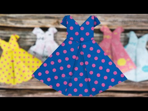 How to make an ORIGAMI PAPER DRESS - Mother's Day Crafts   Paper Craft Ideas