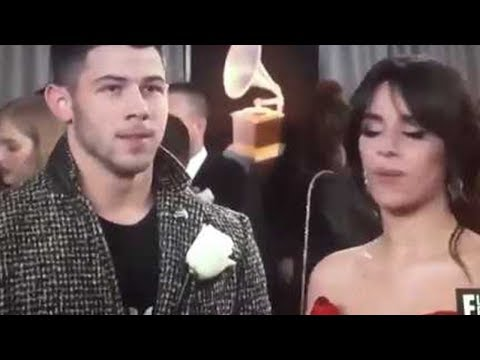 Camila Cabello Awkwardly Reunites with Nick Jonas, Blows Him Kisses | 2018 Grammys