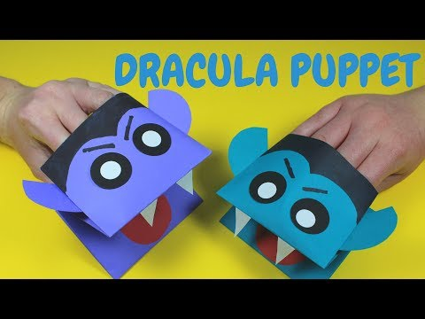 How to Make a Dracula Hand Puppet    Halloween Crafts for Kids
