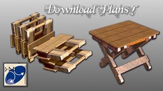 Banco Dobrável De Madeira - Portable Wood Folding Stool Catia V5