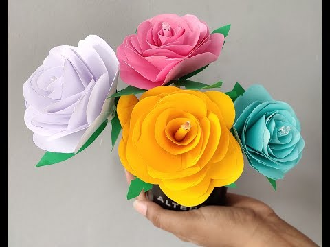 Art and craft, paper art and craft,| Origami rose Flowers | DIY paper Flowers | Crafts ideas