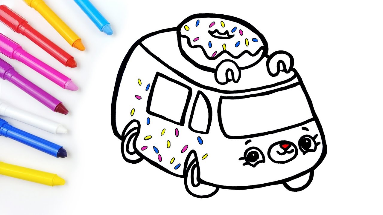 Shopkins Cutie Cars Drawing Learn Colors Jolly Art Youtube