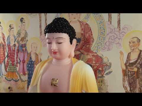 Tượng Phật A Di Đà Đẹp Bằng Bột Đá Vẽ Màu Khoáng 50cm