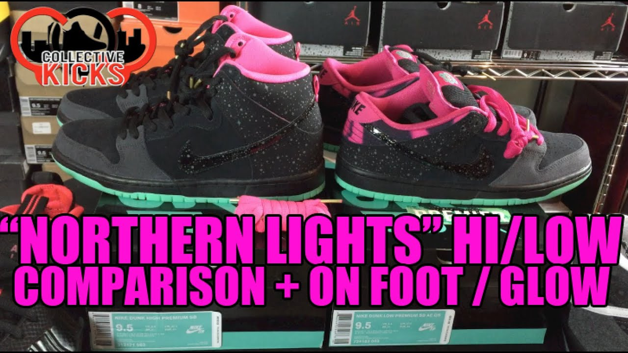 finest selection 90e5e d043f Nike Dunk SB Premier Northern Lights Comparison High   Low + Glow Test   On  Foot!