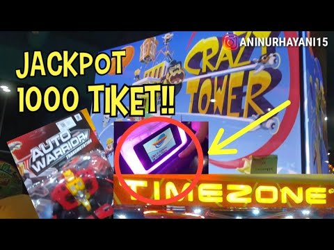 JACKPOT 1000 TIKET!! CRAZY TOWER ARCADE TIMEZONE!! HARUS COBA!!