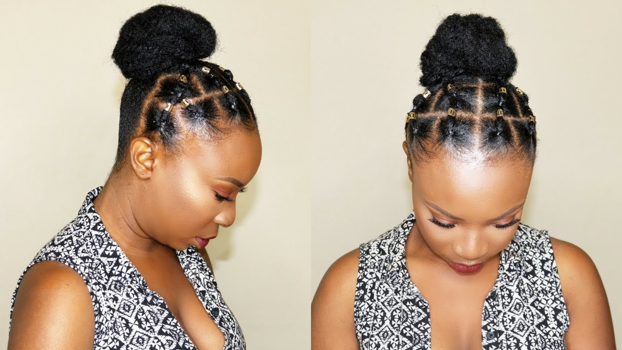 Rubber Band Hairstyle For Short Natural Hair Youtube