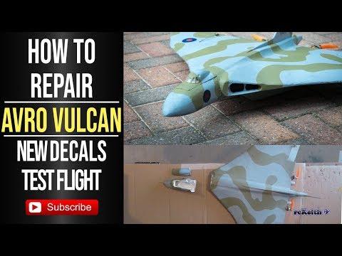 RC foam repair Vulcan XM607 DIY decals and test flight