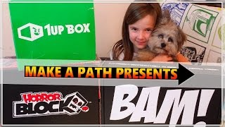 HORROR BLOCK, The BAM BOX & 1UP Box Unboxing & Review MARCH 2017