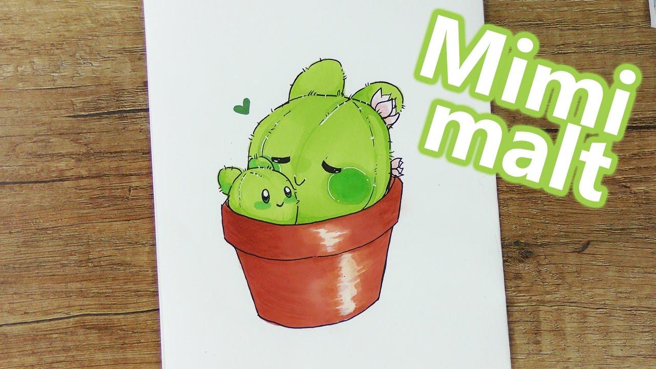 Kaktus Malen Mit Niedlichem Kawaii Gesicht Einfach Nachmalen Diy Inspiration Kids Club Mimi Malt