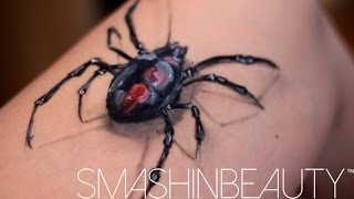 3D Realistic Spider Makeup Face Paint Tutorial Halloween Makeup 2016