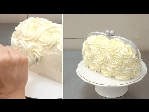 Handbag Buttercream Cake - Piping Buttercream Roses - YouTube
