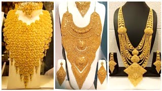 Heavy  Expensive Gold Necklace Designs For Royal Brides  Party - Dubai Gold Designs
