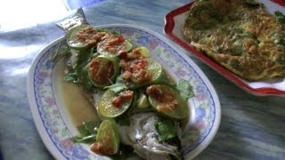 Thai Steamed Fish With Lime And Cha-om Vegetable Omelette | Pattaya Beach Thailand