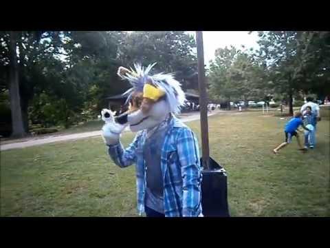 Derpy coyote takes ALS Ice Bucket Challenge (in fursuit)