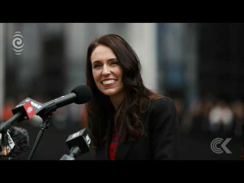 Jacinda Ardern addresses adoring crowd after being sworn in as PM